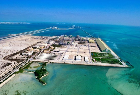 On-site fish farm at Gulf Petrochemicals Industries Co., hosting 100,000 sea bream fish that are released into the deep sea annually to enrich marine life.