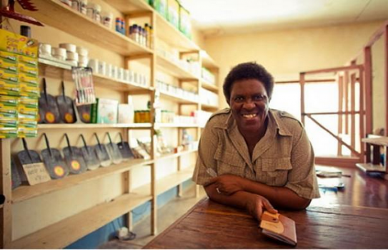 Flora Kahumbe passes on knowledge, as well as selling farm inputs, in her shop by Monkey Bay in Malawi. ONE/Morgana Wingard