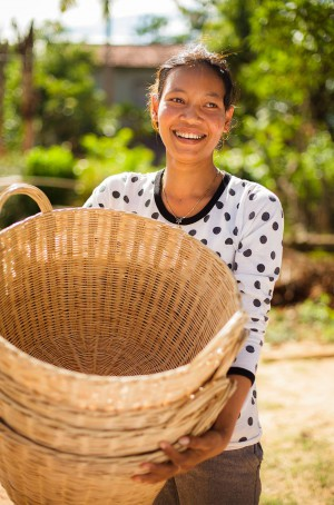 This woman participates in a non-timber forest product group in Krang Thom that is specifically geared toward encouraging women to create marketable products from bamboo.